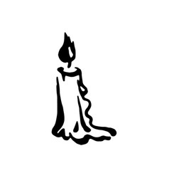 Hand drawn witch and magic item candle vector