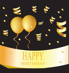 happy birthday card golden vector image vector image