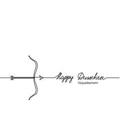 happy dussehra bow sketch with arrow black vector image