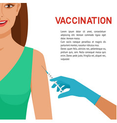 healthcare concept smiling girl getting vaccine vector image