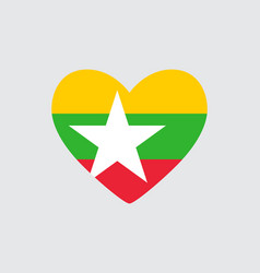 Heart in colors of the myanmar flag vector