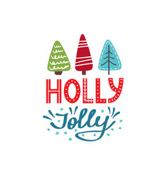 holly jolly christmas card vector image