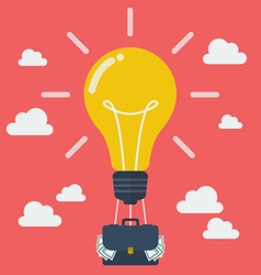Idea lightbulb balloon with suitcase full of money vector