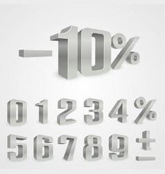 Interest rebate set grey numbers vector