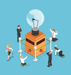 Isometric business people shocked when light bulb vector