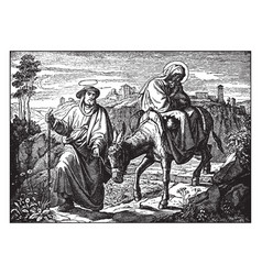 Joseph leads mary and jesus on the road to egypt vector