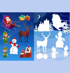 Kids christmas shadow match game holiday riddle vector
