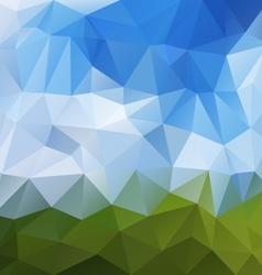Landscape green blue sky polygon triangular vector