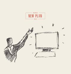 man raised hand monitor presentation plan vector image