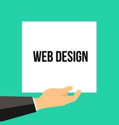 man showing paper web design text vector image