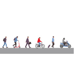 men on street cartoon flat set vector image