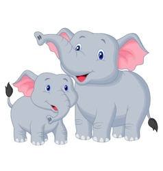 Mother and baby elephant cartoon vector