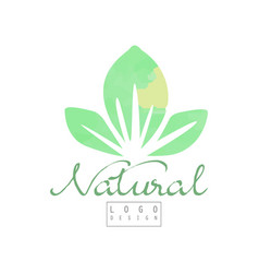 Natural logo template with abstract green leaves vector