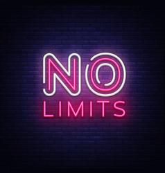 No limits neon text limits neon sign vector