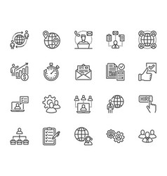 Outsource flat line icons set recruitment vector