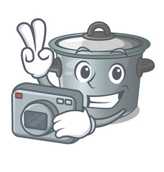 Photographer cartoon stock pot used cooking food vector