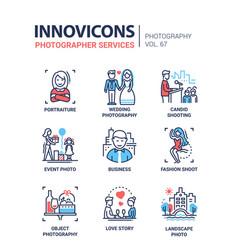 photographer services - line design icons set vector image
