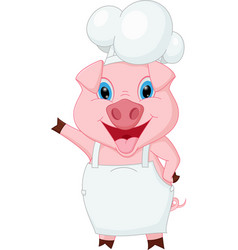 Pig chef cartoon waving hand vector