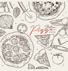 pizza cafe design template pizza ingredients vector image