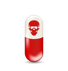 Red capsule with skull isolated on white vector image