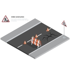 Road repair under construction road sign Repairs vector