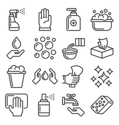sanitation ans clean icons set on white background vector image
