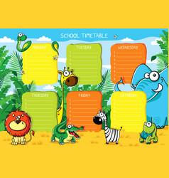 School timetable animals africa vector