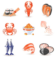 seafood icons vector image