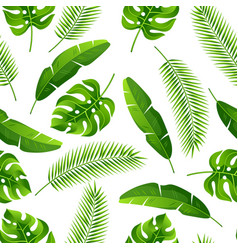 Seamless pattern with tropical palm leaves exotic vector