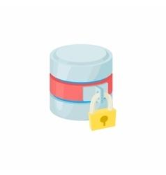 Secured database icon cartoon style vector image