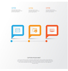seo icons set collection of website newsletter vector image