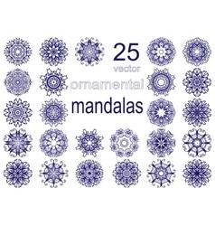 Set of twenty five mandalas vector