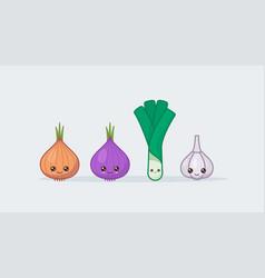 set onion and garlic cute kawaii smiling food vector image