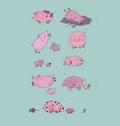 Set with cute cartoon pigs farm animals pig vector