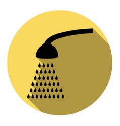 shower simple sign flat black icon with vector image