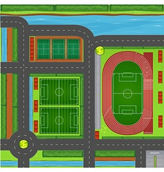 Sporting complex aerial view vector image