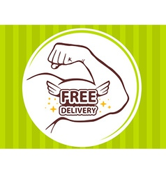 Strong man hand with icon of free delive vector