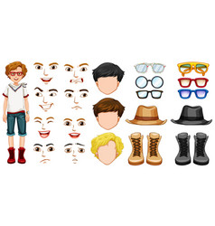 teenage boy with different accessories and vector image