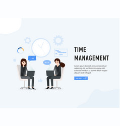 time management web page poster vector image