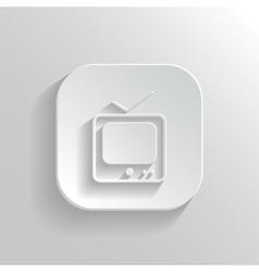 TV icon - white app button vector image vector image