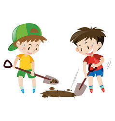 Two boys digging hole with shovels vector