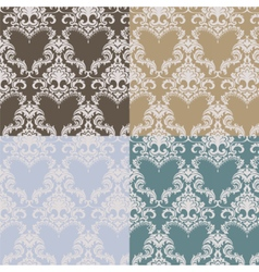 Vintage Damask Pattern set vector image