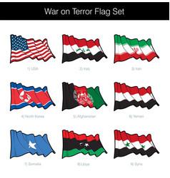 War on terror waving flag set vector