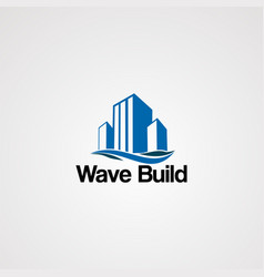 wave building logo simple modern and clean vector image