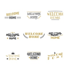Welcome home Set of 9 labels stickers emblems or vector