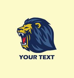 wild lion roaring logo vector image
