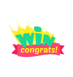 win congratulations sticker design with green vector image