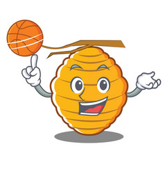 With basketball bee hive character cartoon vector
