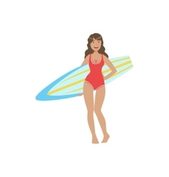 Woman In Red One-piece Swimsuit Pasing With vector image