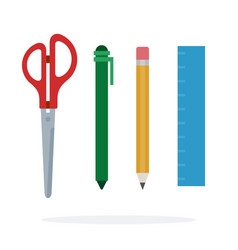 writing instruments scissors pencil pen and ruler vector image